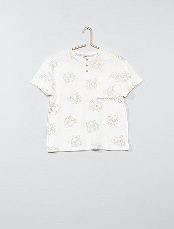 T-shirt imprimé col tunisien - Kiabi