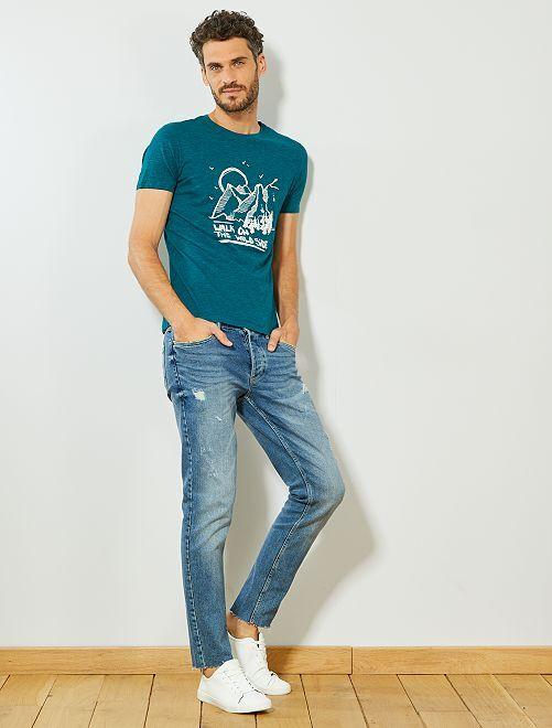 T-shirt imprimé coton bio                                                                                                     vert chiné Homme