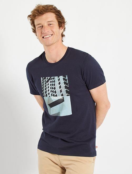 T-shirt imprimé éco-conçu                                                                                                                                                                 bleu marine/structure