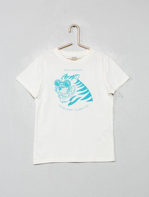 T-shirt imprimé éco-conçu                                                                             crème/tigre