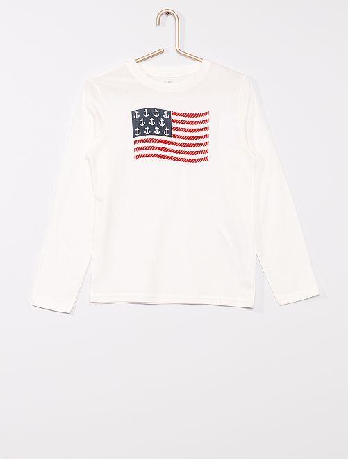 T-shirt imprimé éco-conçu 'Nœuds marins'                                         blanc
