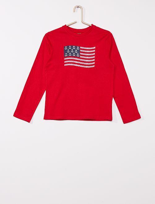 T-shirt imprimé éco-conçu 'Nœuds marins'                                         rouge