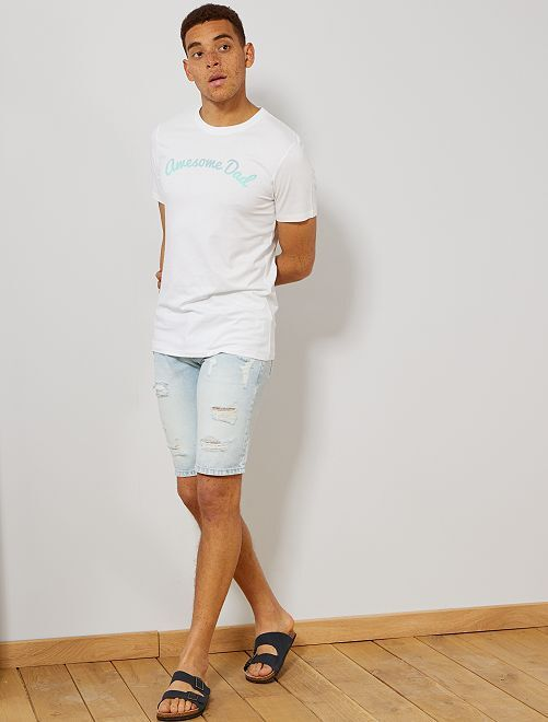 T-shirt imprimé en coton bio                                                                                                                                                                 blanc awesome Homme
