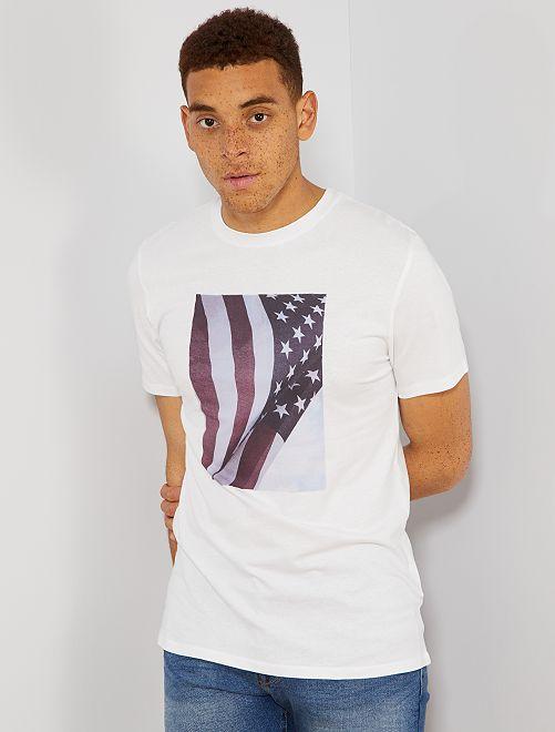 T-shirt imprimé en coton bio                                                                                                                                                                 blanc usa Homme