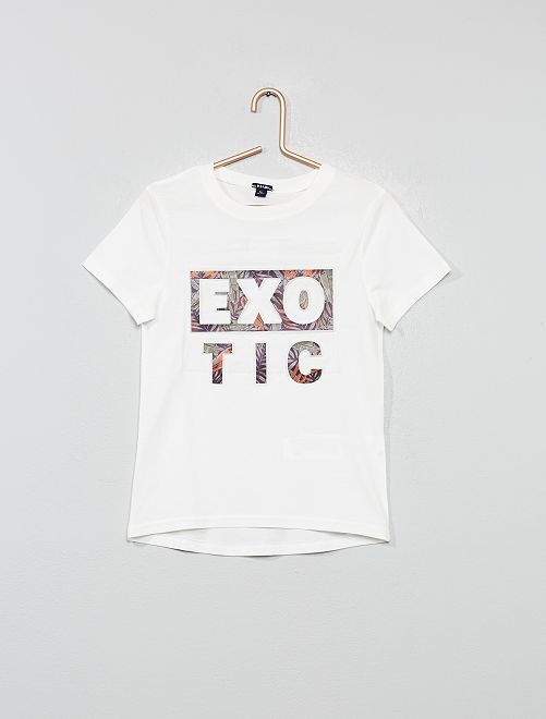 T-shirt imprimé en relief                                                                                                     blanc cassé Garçon
