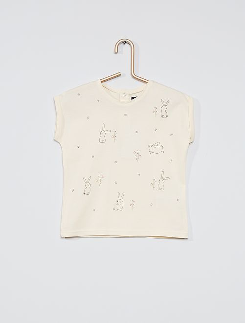 T-shirt imprimé 'lapins'                             blanc cassé