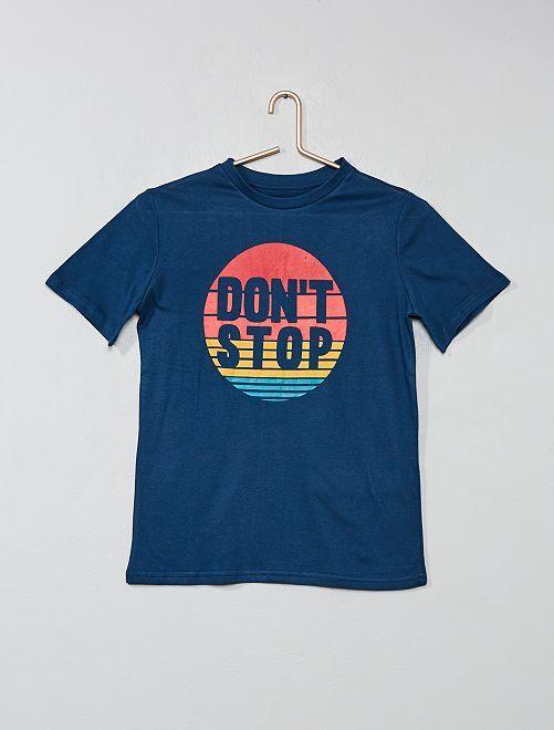 T-shirt imprimé manches courtes                                                                 BLEU Garcon adolescent