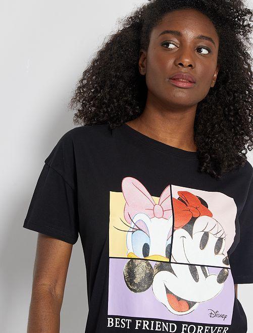 T-shirt imprimé 'Mickey', 'Minnie' et 'Daisy'                                                                                         noir