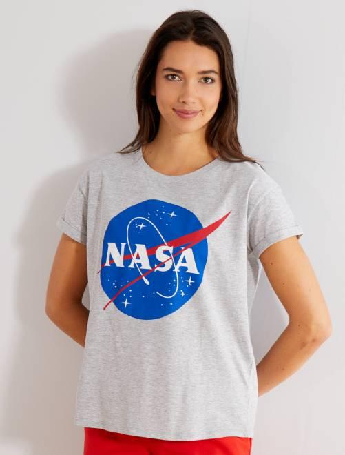 T-shirt imprimé 'Nasa'                             gris Femme