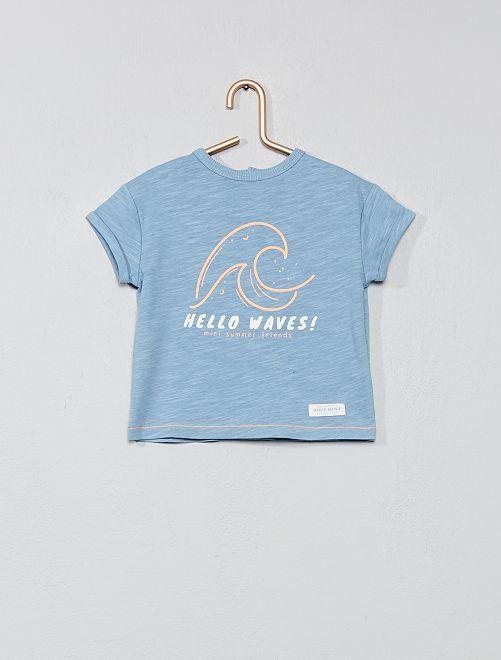 T-shirt imprimé 'palmiers' fluo                                         bleu/vague Bébé garçon