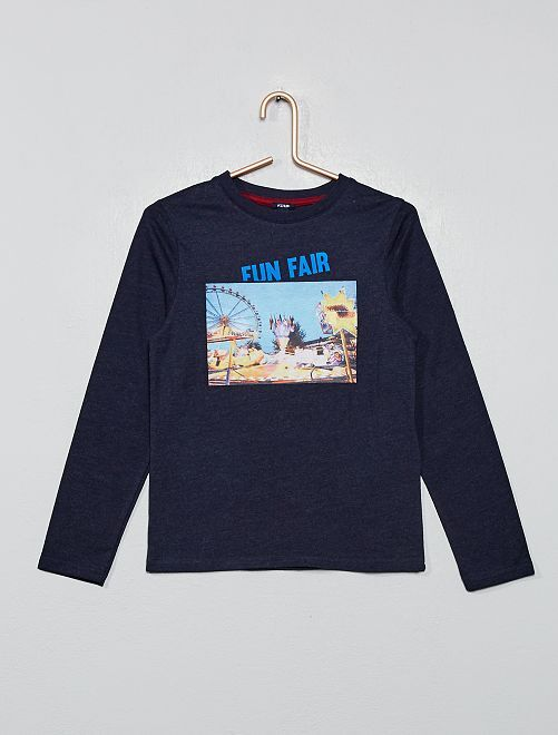 T-shirt imprimé photo                                                     bleu
