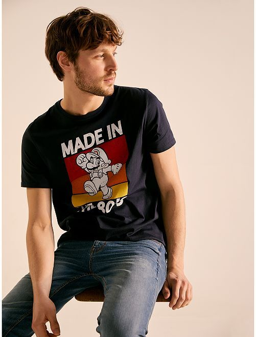 t shirt imprim 39 super mario 39 homme bleu marine kiabi 10 00. Black Bedroom Furniture Sets. Home Design Ideas