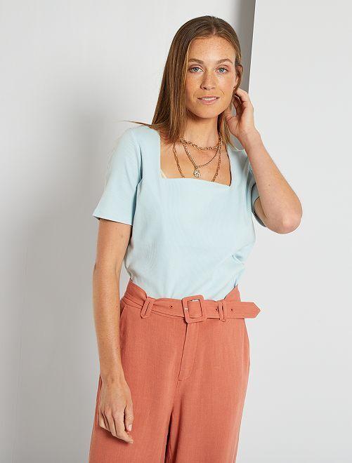 T-shirt maille côtelée                                 gris bleu