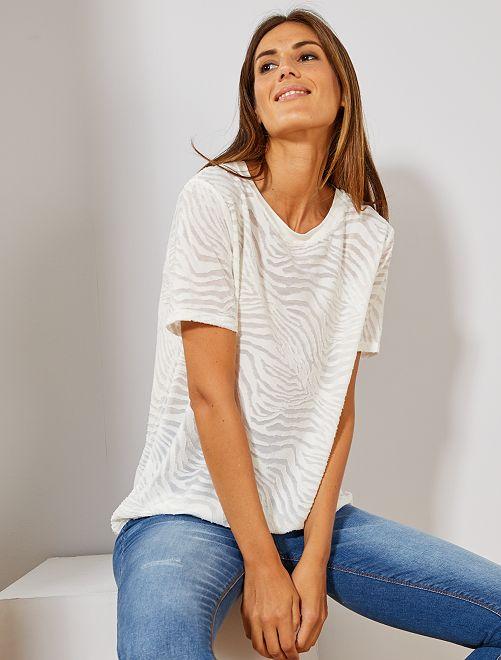 T-shirt maille zébré                                         blanc Femme