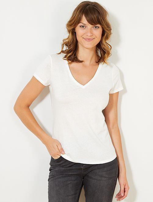 T-shirt manches courtes col V                                             blanc Femme