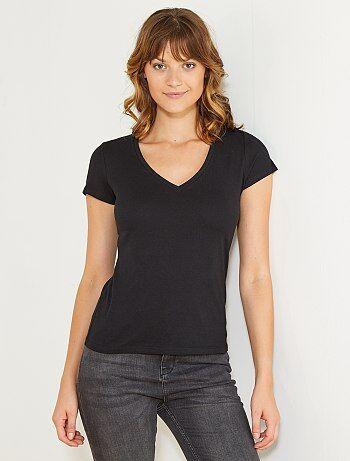 T-shirt manches courtes col V - Kiabi