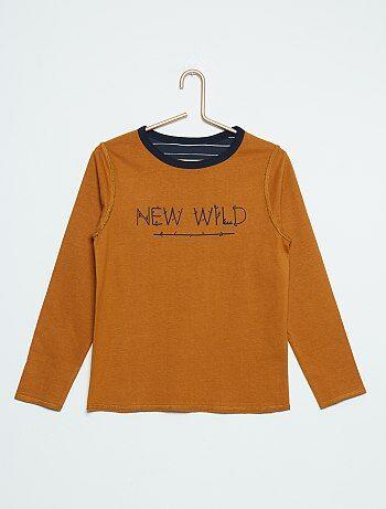T-shirt manches longues réversible                                         marron Garçon