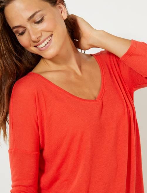 f846da44837 T-shirt manches longues Femme - rouge - Kiabi - 6