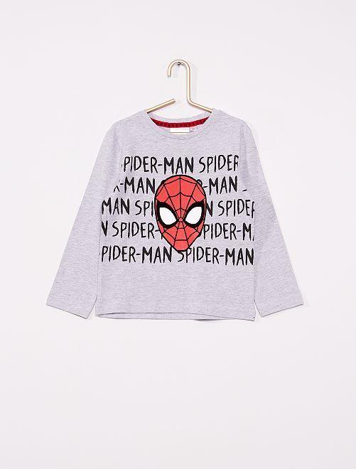 T-shirt manches longues 'Spider-Man'                                         gris chiné