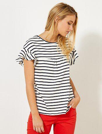 T-shirt marinière avec fronces - Kiabi