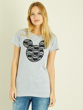 Femme du 34 au 48 - T-shirt 'Mickey' en dentelle - Kiabi