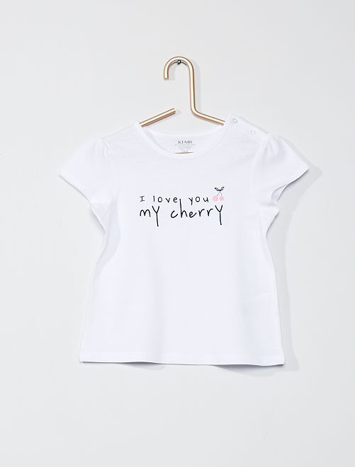 T-shirt 'my cherry'                                                                             blanc cerise