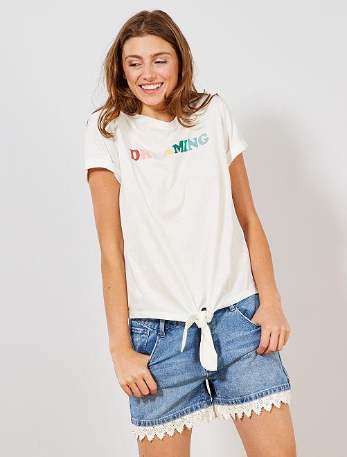 T-shirt noué coton bio                                 blanc Femme