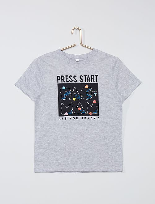 T-shirt 'Pac-Man'                             gris chiné