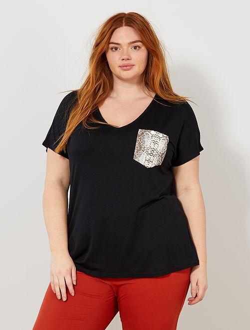 T-shirt poche python                             noir Grande taille femme
