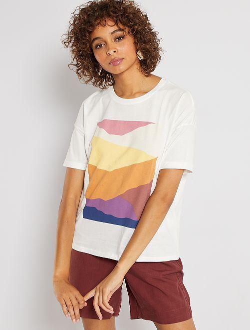 T-shirt print                                         blanc abstrait