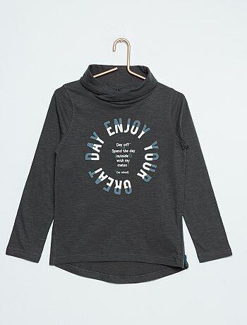 T-shirt pur coton col tubulaire                                         gris foncé Garçon