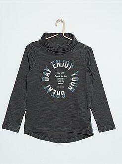 Tee shirt, polo gris - T-shirt pur coton col tubulaire