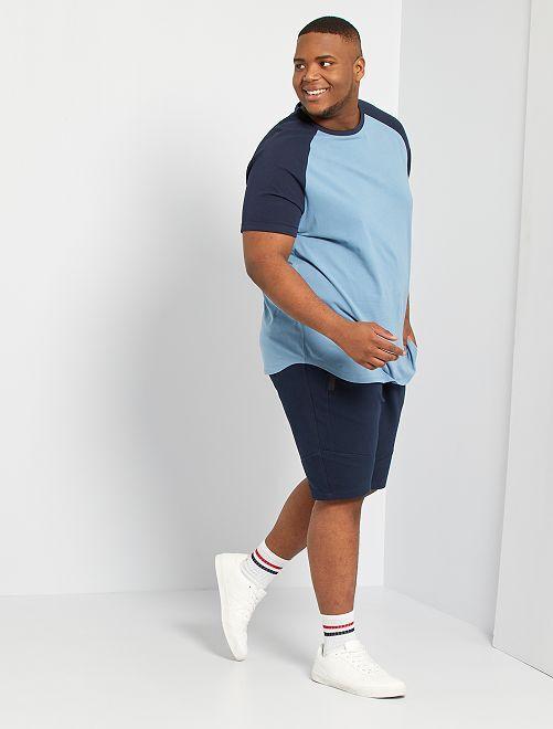 T-shirt raglan bicolore éco-conçu                             bleu marine/bleu gris