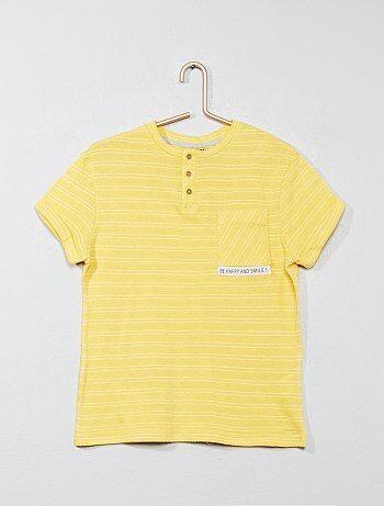 T-shirt rayé col tunisien - Kiabi