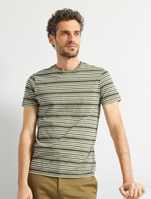T-shirt rayé éco-conçu                                                                 kaki rayé