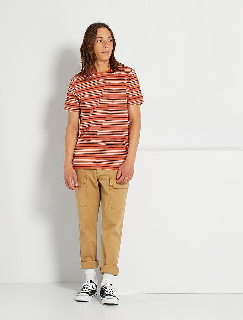 T-shirt rayé éco-conçu                                                                 orange rayé