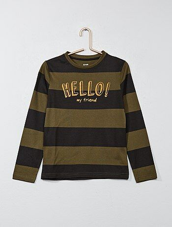 Garçon 3-12 ans - T-shirt rayé imprimé - Kiabi