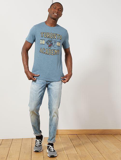 t shirt regular coton bio imprim homme bleu gris toronto kiabi 6 00. Black Bedroom Furniture Sets. Home Design Ideas