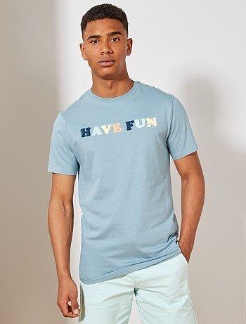 f98e390e4b5 T-shirt regular coton bio maille bouclette - Kiabi