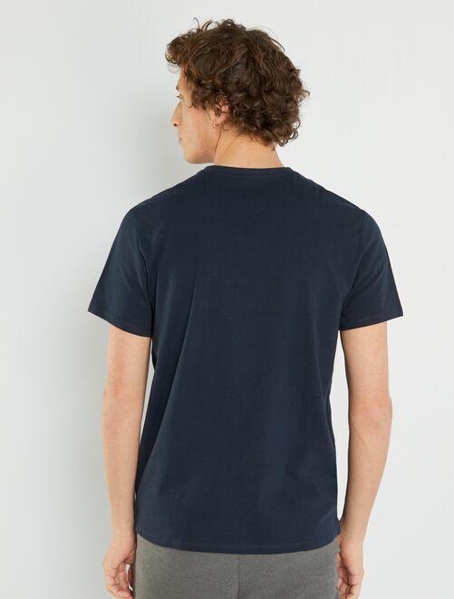 1c0d2e6eb0d T-shirt regular en coton col V Homme - bleu marine - Kiabi - 3