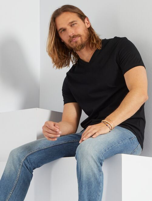 T-shirt regular en coton col V                                                                                                                             noir