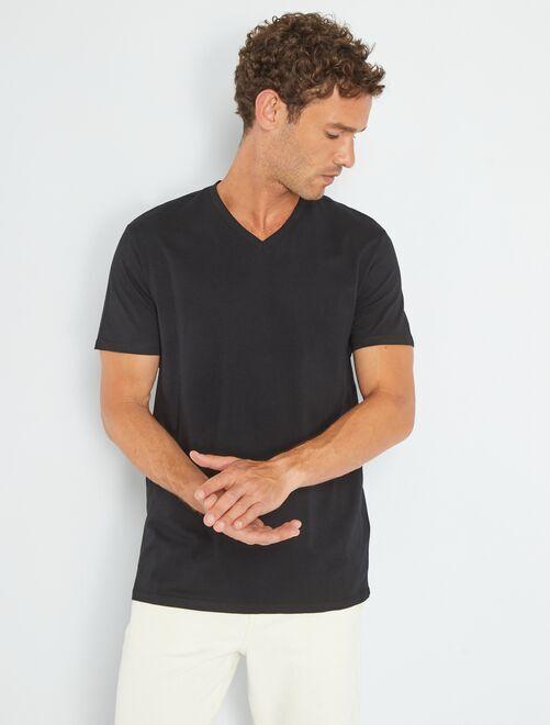 T-shirt regular en coton col V                                                                                                         noir