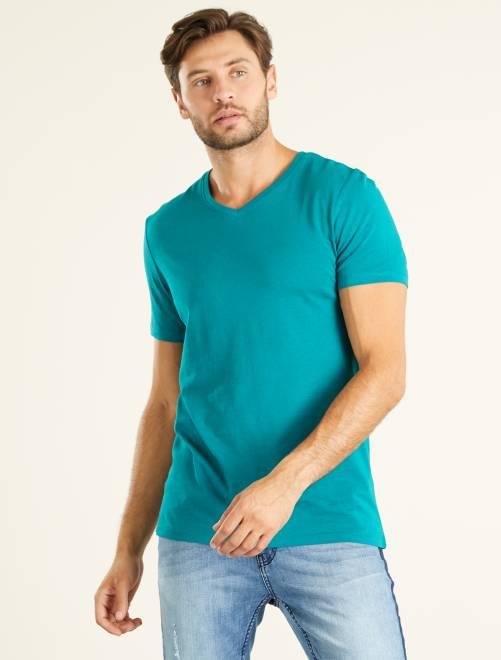 T-shirt regular en coton col V                                                                                                                             VERT Homme