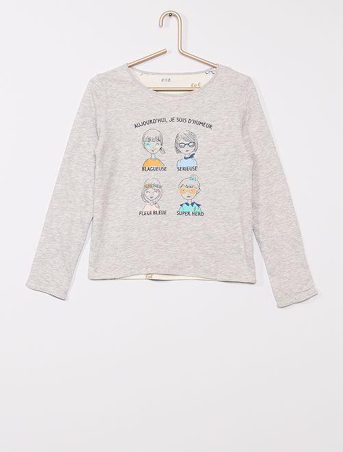 T-shirt réversible éco-conçu                                         gris/blanc
