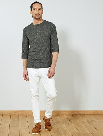 Soldes t-shirt manches longues homme pas cher uni - mode Homme   Kiabi 2621998519a9