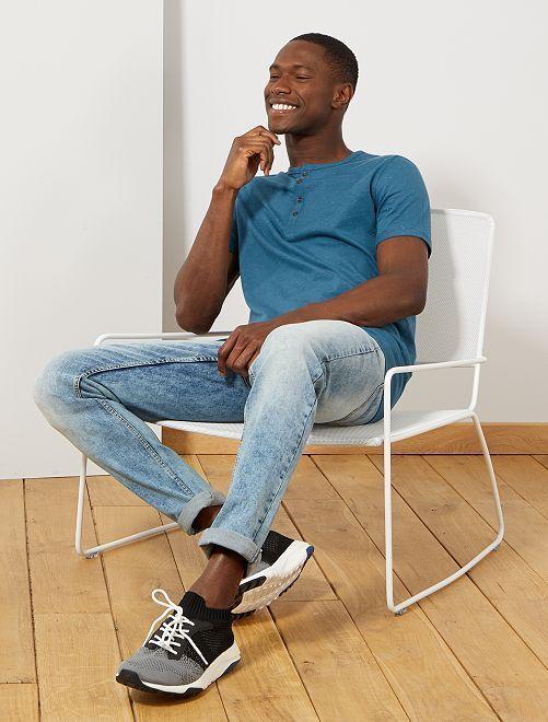 t shirt slim col tunisien eco conception homme bleu canard kiabi 8 00. Black Bedroom Furniture Sets. Home Design Ideas