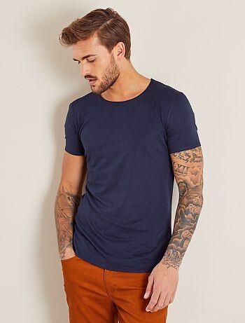 T-shirt slim en jersey uni - Kiabi