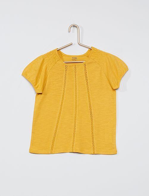 T-shirt smocké éco-conçu                                                                                                                                                     jaune