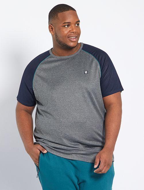 T-shirt sport maille fluide                     gris foncé/bleu marine