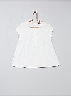 Fille 3-12 ans - T-shirt uni avec plis - Kiabi